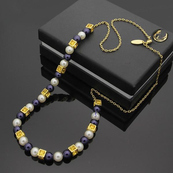 Jóias de titânio de aço 316L V carta cinza branco pérola ladies string colar de jóias de casamento do amor 18 K ouro colar de pingente de contas