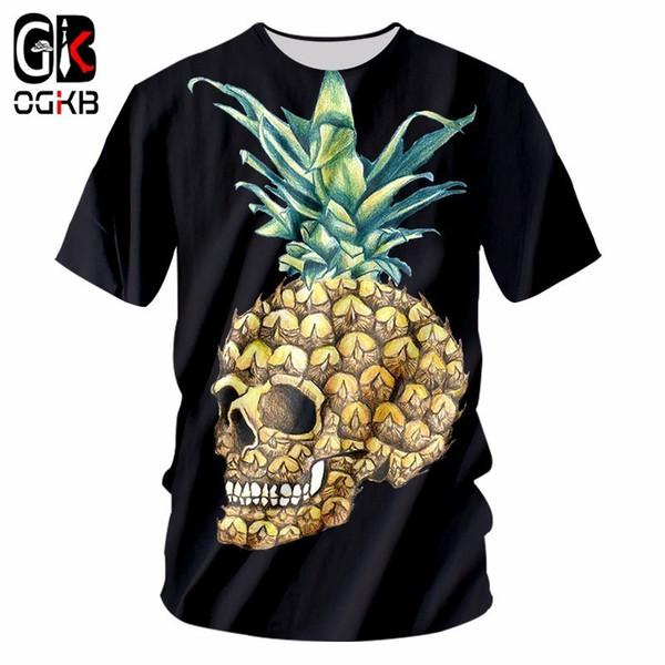 OGKB Hot Sale Men/womens 3D Print Pineapple Skull T-shirts Unisex Short Sleeve O Neck Hiphop Punk Tshirt Homme Casual Tee Shirts