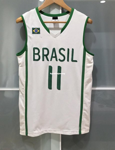 Cheap wholesale RARE nk BRAZIL VAREJAO BASKETBALL JERSEY FIBA WBC White Top T-shirt vest Stitched Basketball jerseys
