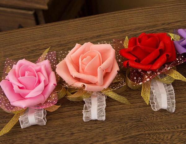 Braut Brautjungfer Handgelenk Blume Corsage Brautjungfer Schwester Hand Blume Hochzeit Ball Künstliche Seidenblume Armband Freies Verschiffen