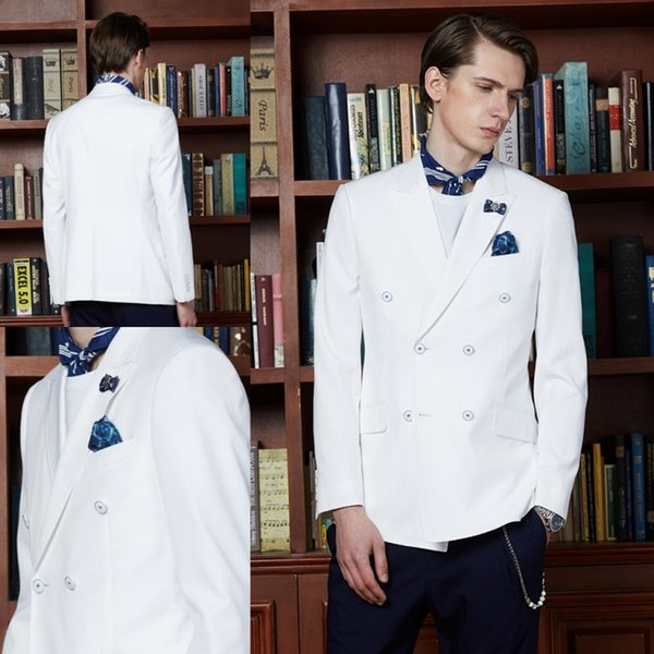 White Mens Suits Separates Double Beasted Custom Made Peaked Lapel Summer Slim Fit Weddind Tuexdos Groomsmen Suit