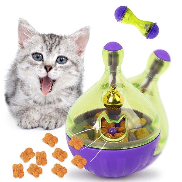 2pcs/set Interactive Cat IQ Treat Ball Toy Smarter Pet Toys Food Ball Food Dispenser For Cats Playing Training Pet supplies 1 bone & 1 ball