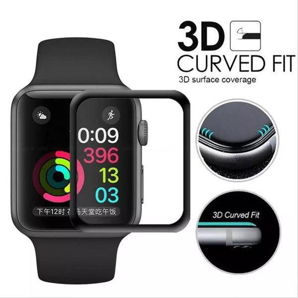 3D Full Screen Premium Tempered Glass Film Screen Protector Protective Cover For Apple Watch Iwatch 38mm 42mm Black