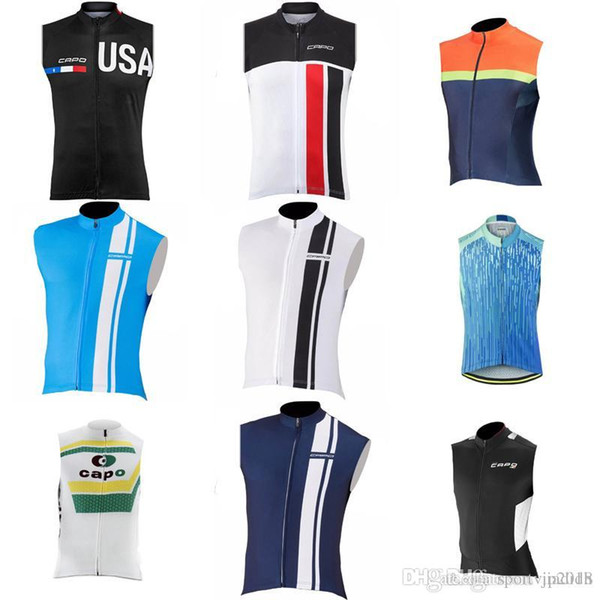 CAPO team Cycling Sleeveless jersey Vest MTB Cycle Clothing Breathable Bicycle Clothing Men Jerseys ropa ciclismo D405