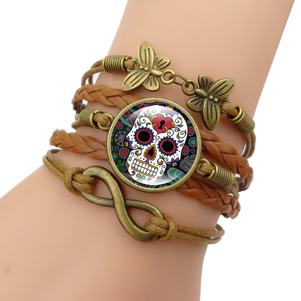 New Cool Skull Bracelet Hot Jewelry Set Fashion Vintage Time Gem Gem Bracciale in vetro per donna Amore Regalo