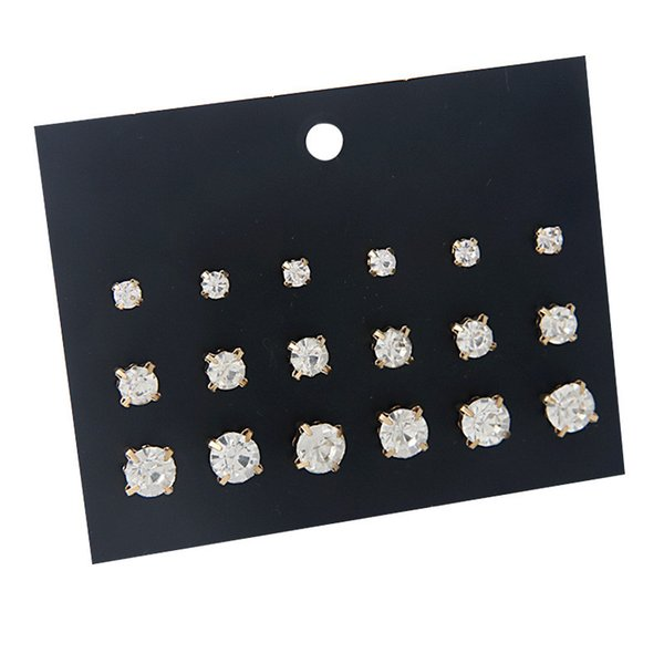 18 Pcs 1 set korean style rhinestone zirconia stud earring fashion women austrian crystal gold stud earrings lady girls earings snap jewelry