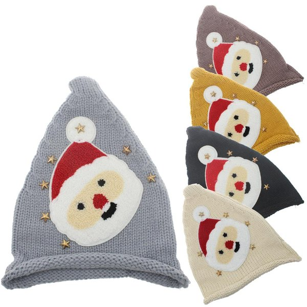Kids Christmas Knitted Caps Baby Santa Claus Knitting Hats Infant Knitted Cap Kids Xmas Hat Winter Beanies Party Hats 5 Colors DH0125