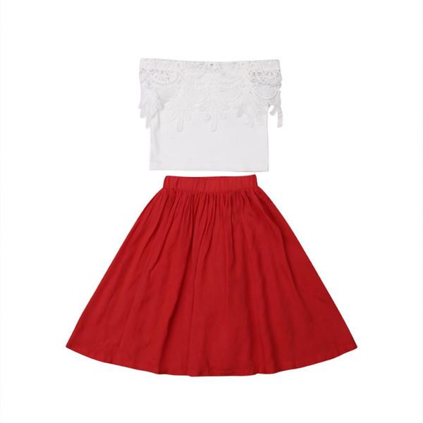 Summer Princess Sweet Infant Kids Baby Girls Sets Lace Off Shoulder T-Shirts Tops+Ankle-length Dress 1-6Y