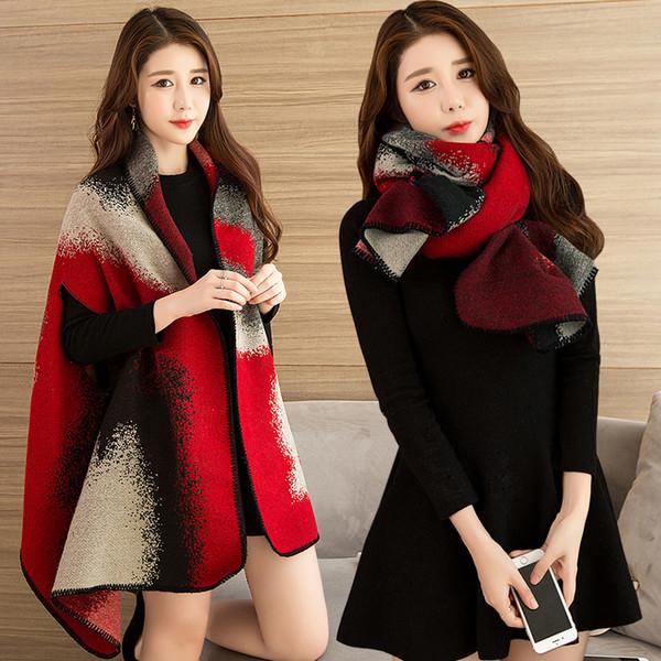 Wearable Winter Scarf Shawl Women Luxury 2018 Shawls and Wraps for Ladies Pashmina Stoles Warm Poncho Feminino Cape Shawl Winter Y18102010