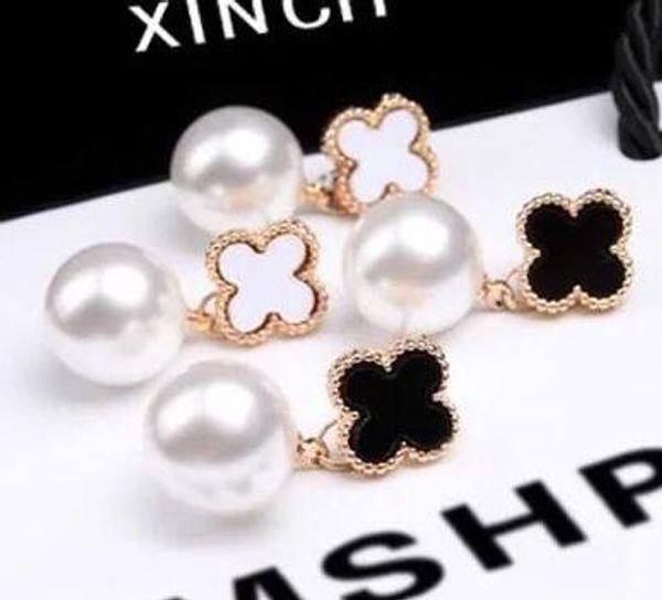 Pendientes de trébol de cuatro hojas de moda perla cuelga Eardrop negro blanco esmalte Ear Studs para mujer chica regalo de la joyería de la fiesta