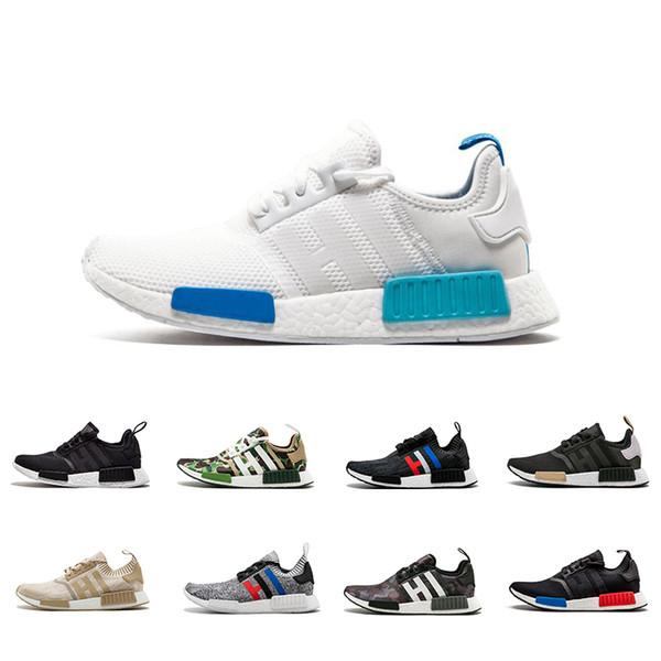 Acheter Adidas Nmd Human Race Nouveau Blanc Bleu NMD R1 Formateurs OG Vert Camo Triple Noir Blanc Chaussures De Course Pour Hommes Femmes Conception