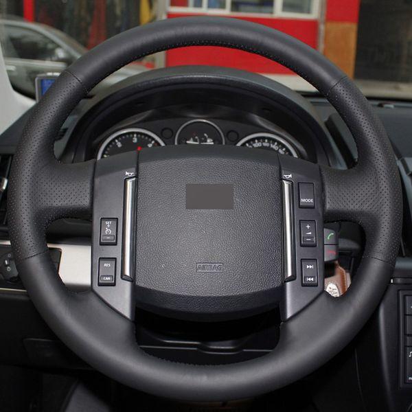 Cubierta de rueda de coche cosida a mano de cuero negro DIY para Land Rover 2007-2012 Freelander 2