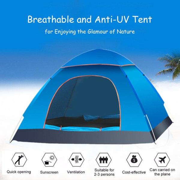 UV Protection 2-3 Person Camping Tent Automatic Quick Pop Up Outdoor Shelter 190T Oxford Shading Light-weight Ventilation Safe