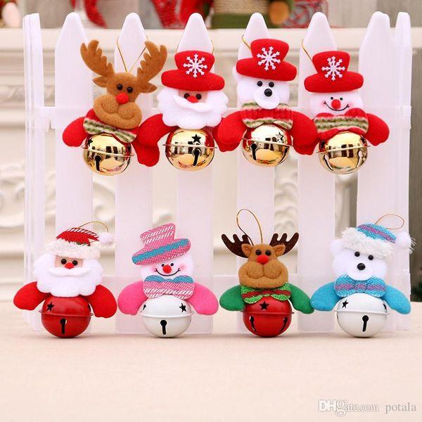 11*7CM Around Christmas Bells Keychain Decoration Lovely Cartoon Doll Bells Santa Claus Snowman Elk Bear Xmas Tree Gifts Pendant Accessories