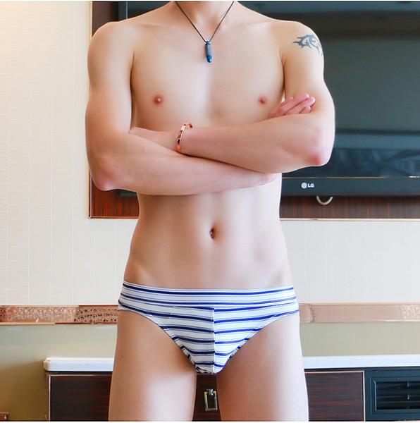 2018 marque hommes sous-vêtements hommes culottes shorts sexy maillot culotte pochette garçon culottes rayé mémoires hommes sous-vêtements garçons