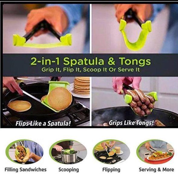 Akıllı Spatula Tong 2-in-1 Mutfak Spatula Maşa yapışmaz Isıya Dayanıklı Bulaşık Makinesinde Yıkanabilir Mutfak Aletleri Mutfak Spatula ve Maşa KKA4544