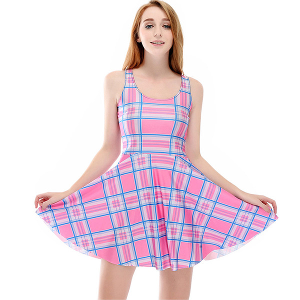 Women Billowing Dress Plaid Check 3D Print Girl Stretchy Casual Pleated Parasol Dresses Lady Sleeveless Digital Graphic Skirt (RLSkd1158)