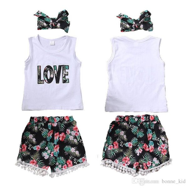 Kids Baby Girls Summer Clothes Vest +Floral Shorts+ Headband Outfits 3Pcs Set Clothes Embroidered Letter Tassels Kids Boutique Clothing