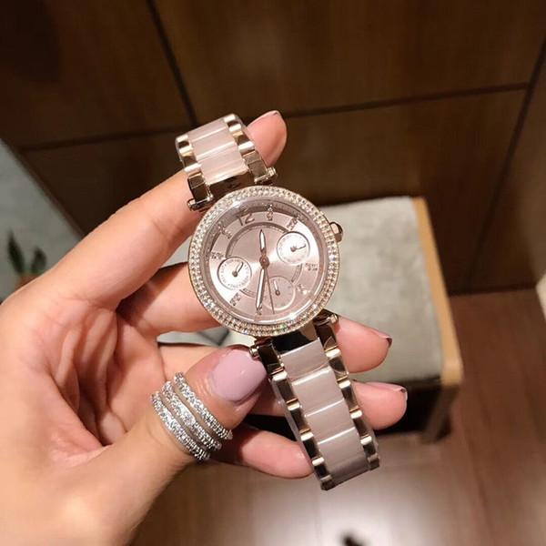 Moda tendência senhoras relógio de quartzo, pulseira rosa m-6110 série de seis pinos: disque com diamante relógio à prova d'água, de alta qualidade! Senhora favorita: wholesa