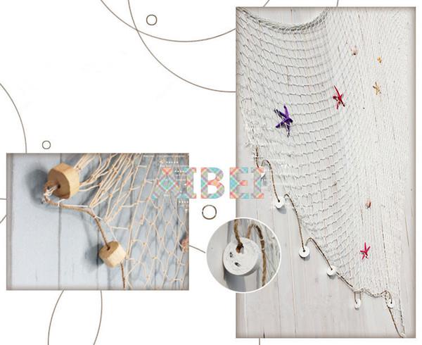 1 * 2 m, 2 * 4 m Azul / Branco Rede De Pesca, bar decoração de parede 3d Náutico Decoração para casa para o Bordado Estilo Mediterrâneo Etiqueta Artesanato