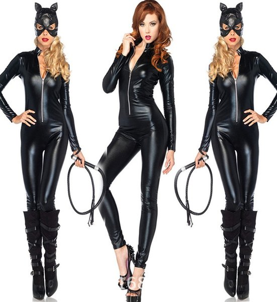 mujer de manga larga de cuero de imitación brillante Catsuit las mujeres del gato separador mono con la máscara