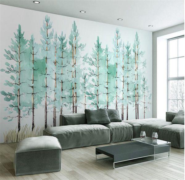 Acquista Moderno Semplice Camera Da Letto Soggiorno Carta Da Parati Piccolo  Albero Verde Fresco Nordic TV Sfondo Muro Murales A $32.17 Dal Fumei168 |  ...