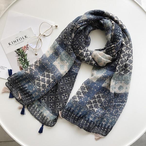 2018 New Fashion Geometry Tassel Scarves Shawls Women Geometric Print Tassel Wrap Muffler Hijab Wholesale 10pcs/lot