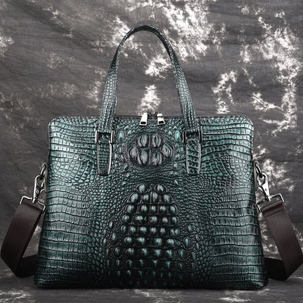 Men's First Layer Genuine Leather Cowhide Tote Cross Body Bag Crocodile pattern Business Handbag Briefcase