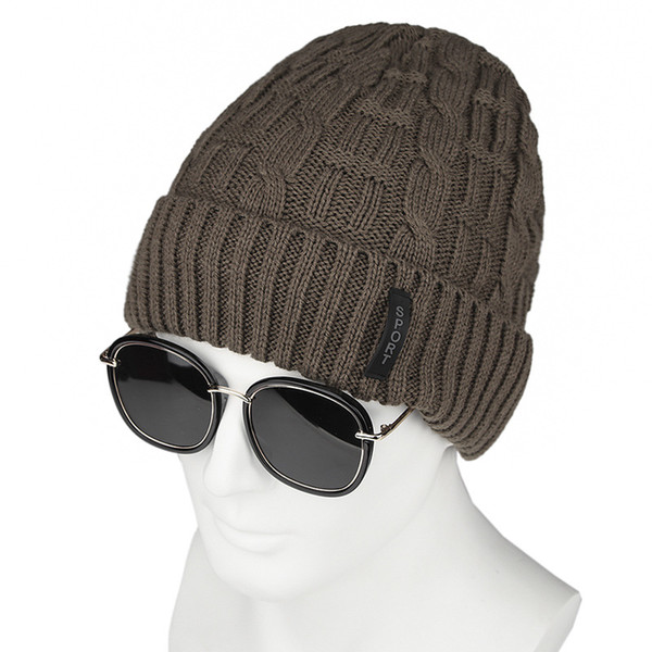 Men's winter thickening woolen cap fur label sport for the elderly hat cover head and ears knitted warm hat for the elderly hat