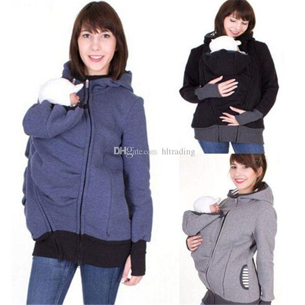 Mulheres Outono Inverno Transportadora Do Bebê Moletom Com Capuz Zip Up Maternidade Com Capuz Moletom Com Capuz Pulôver 2 Em 1 Outerwear tops 10 CORES C3675