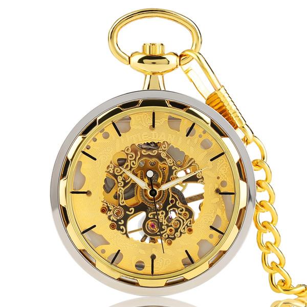 eiffel orologio da tasca in oro per uomo trasparente design orologio a mano meccanico meccanico ciondolo elegante catena dorata di lusso