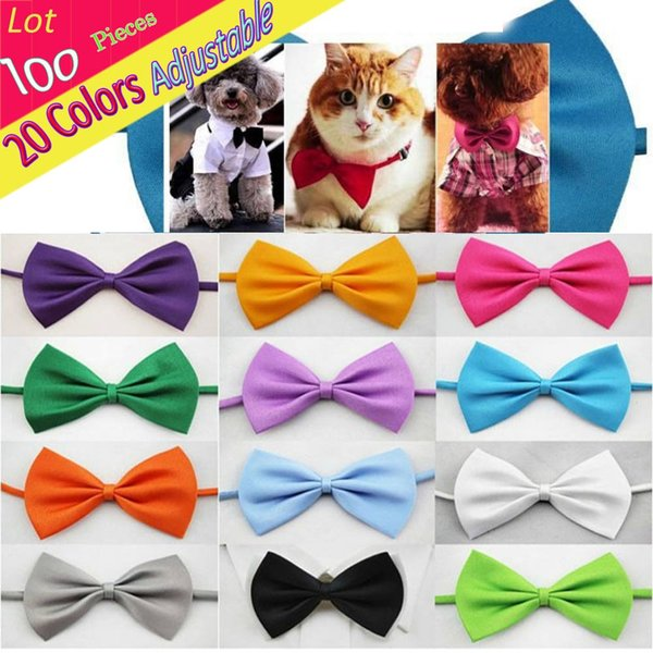 Wholedale (100 PCS/ LOT) Adjustable Cute Solid Bow Tie Plain Butterfly Ties For Pet Dog Puppy Bows Clothing Accessories Necktie