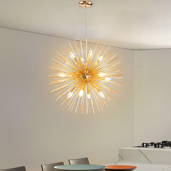 Nordic Style Pendant Lights Milky White Glassshade Modern Minimalist led Pendant Lamps for Dining Room Decoration LightingModern golden art