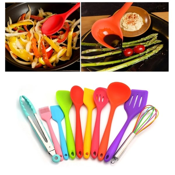Silicone Kitchen Utensils Kit Colorful Spoon Shovel Spatula Colander  Cooking Gadgets Cookware Sets Kitchen Accessories YFA407 Rachael Ray  Cookware ...