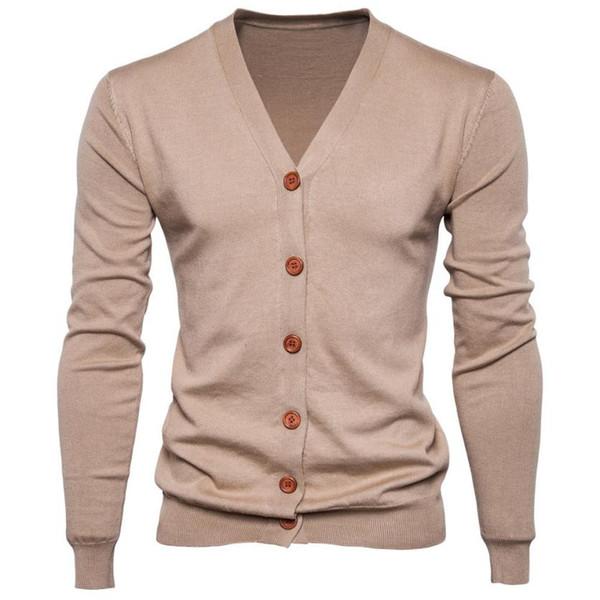 Otoño Hombre Sweater Casual Buttons con cuello en v Suéteres de manga larga de algodón Cardigan de punto Slim Fit Pull Homme Multicolor