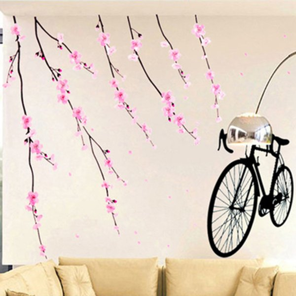 Peach Flowers Branches Wall Stickers Living Room Bedroom Wall Mural Poster Art Creative Home Decoration Wall Graphic Pastoral Wallpaper