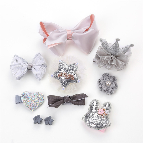 Crown Hairpins For Kids Mesh Flower Headwear Baby Hair Clips Girls Hair Accessories 10 Pcs Set Newborn Fairy Hairgrips Girl Gift