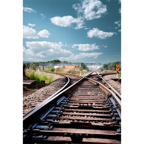 Blue Sky White Clouds Railway Photography Background Countryside Scenery Outdoor Nature View Kids Children Wedding Photo Shoot Backdrops