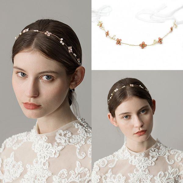 Золотой головной убор ювелирные изделия для невесты свадебные головной убор аксессуары для волос с жемчугом свадебные короны и диадемы цветы декор оголовье