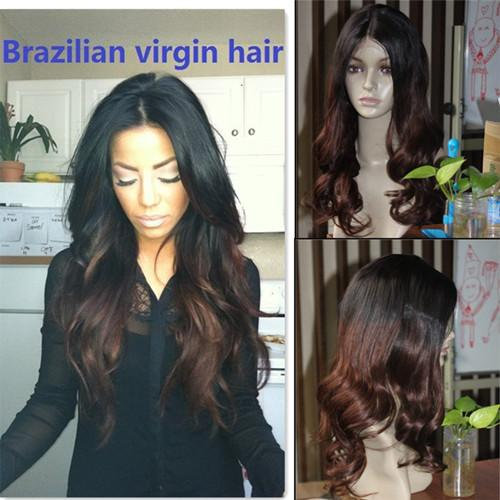 Ombre two tone 1b 4 body wave Vrigin human hair full lace wig and lace front wig ombre celebrity style body wave human hair wig