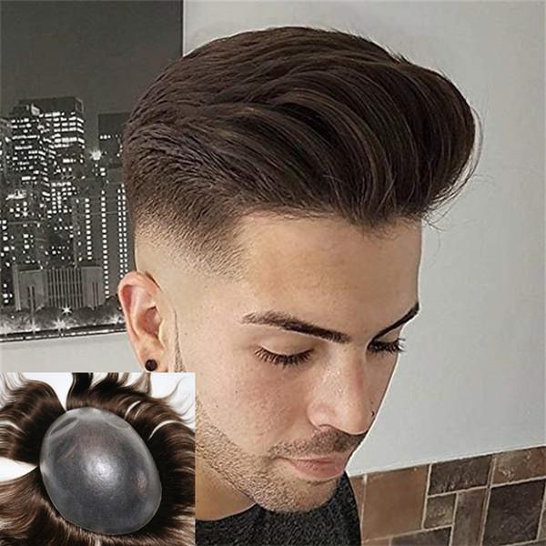 Полный ПУ мужчины парик прочной кожи естественный вид Реми волос мужчины парик человеческих волос полный Пу замены парик
