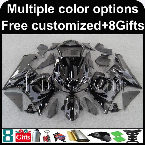 23colors + 8Gifts capucha de la motocicleta de las llamas grises de la carrocería para Kawasaki ZX-6R 2005-2006 ZX6R 05-06 ABS Plastic Fairings