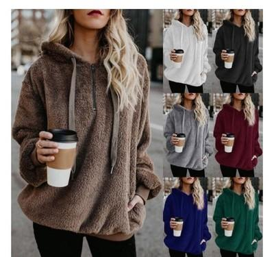 2018 Long Sleeve Hooded Solid Color Women's Sweatshirts Pullover POLO Collar Round Neck Tops Tees Zipper 9 Colors Plus 5XL Loose Casual Coat