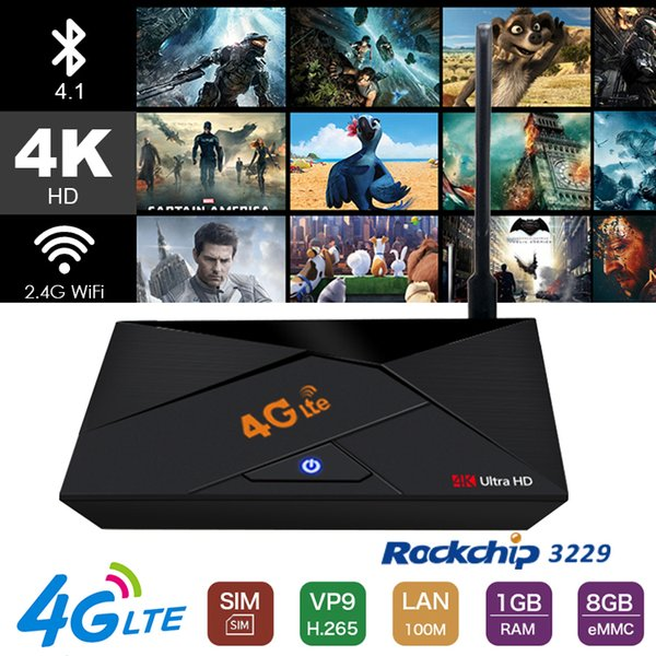 4G Lte Android 7.1 TV Box support sim card WiFi bluetooth 4.1 1GB 8GB 4k ultra smart tv box IPTV media Player