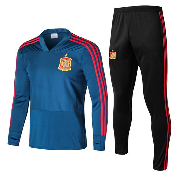 Camisetas Spanien Maillot de Fuß Spanien Fußball Trainingsanzug Pullover Jogginganzug Survêtement Trainingsanzug Chandal Fußballanzug Trikot 2018