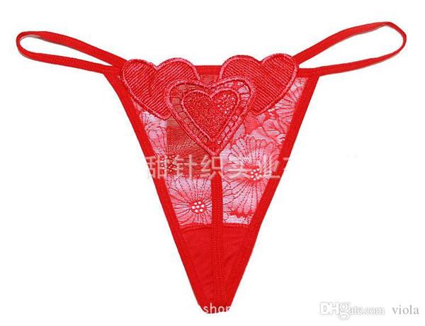 100 pcs New Hot Coração Cintura Baixa G-string Lingerie Sexy Mulheres Calcinha Sexy Underwear Lady Thong Desgaste Íntimo