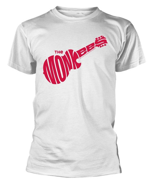 Monkees 'Gitar Logosu' (Blanc) T-Shirt - Neuf et Officiel