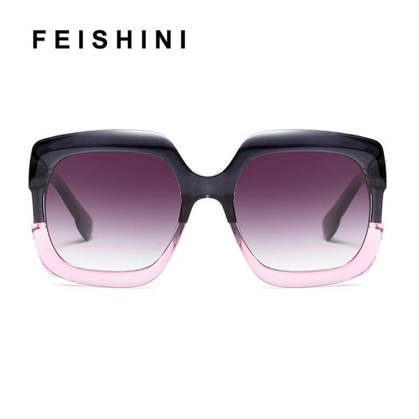 FEISHINI Stars Shine Plastic Frame Festival Celebrity Square Occhiali da sole oversize Ladies GRAY Fashion Women Occhiali UV Protector