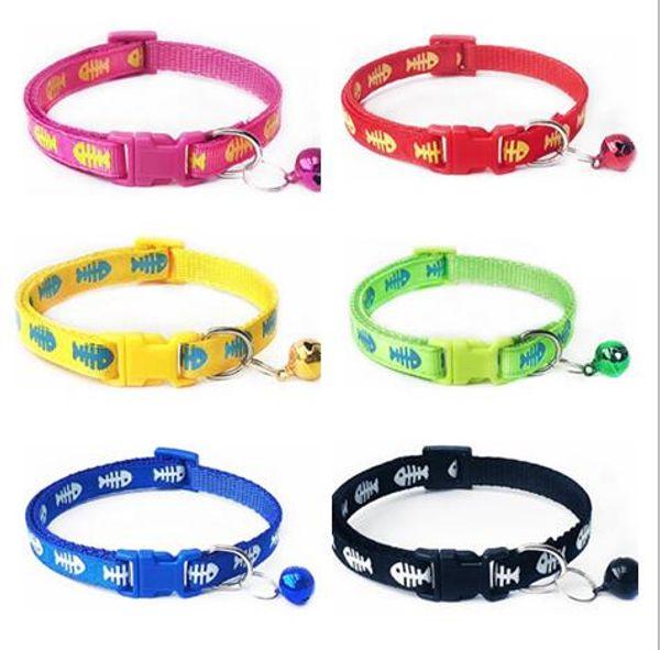 Nylon Dog Puppy Cat Collar Breakaway Adjustable Cats Collars with charm Bell and printing Fish bone Dog collar width 1.0cm