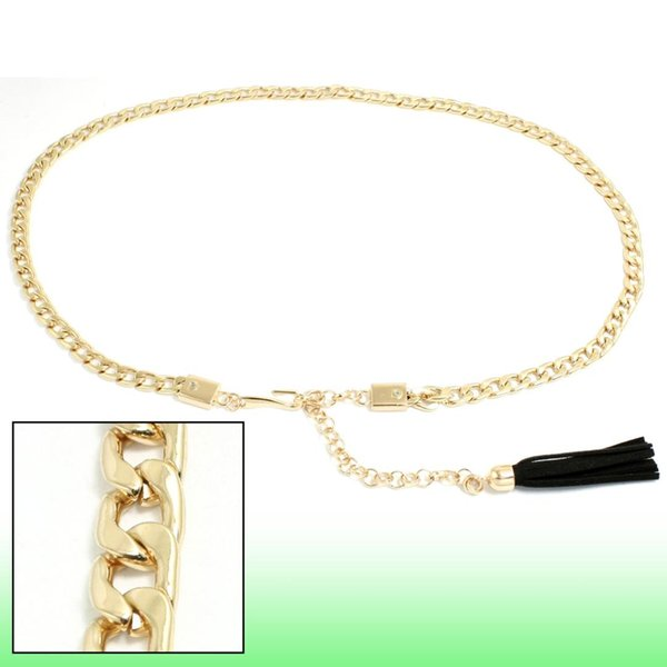 Practical Durable Gold Tone Metal Chain Style Adjustable Waist Belt for Lady